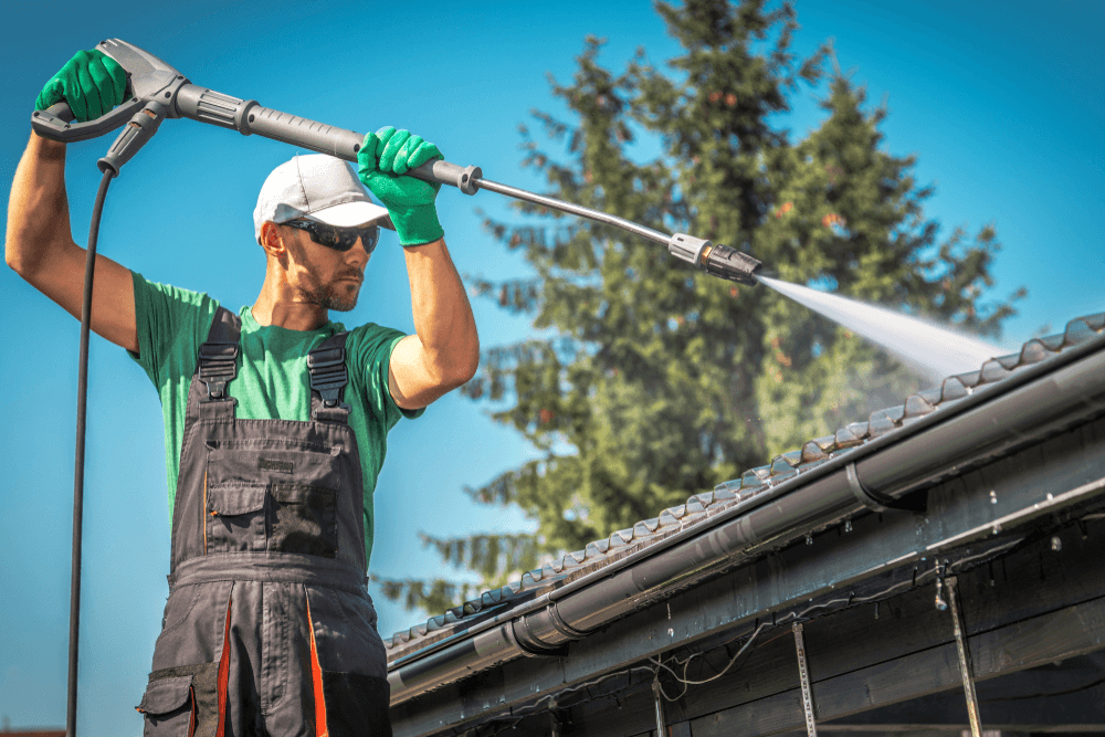 An electric pressure washer is an efficient tool when cleaning the outside gutters of your home